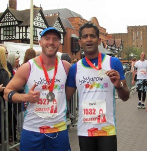 Here I am at the finish line with Dr Jayaram from Chester Hospital.